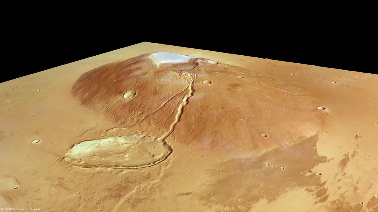 Mars vulkanen Ceraunius Tholus i 3D